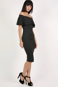 Off Shoulder Deep Frill Bodycon Midi Dress in Black 5