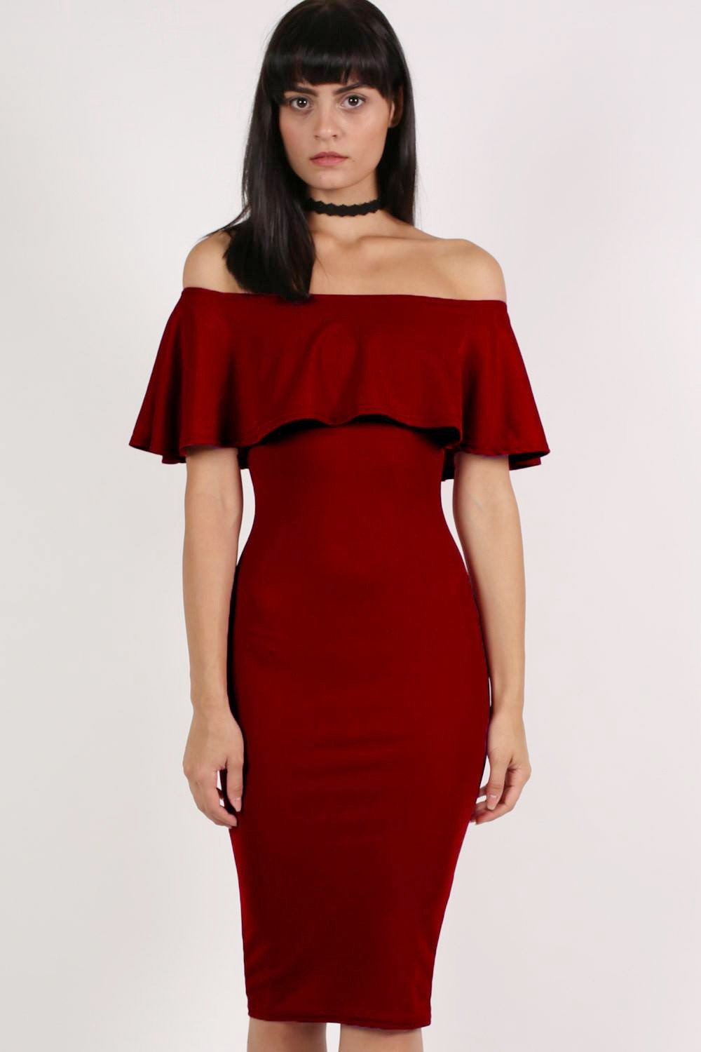 Off Shoulder Deep Frill Bodycon Midi Dress in Burgundy Red 0