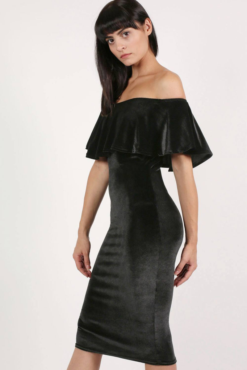 Velvet Off Shoulder Bodycon Midi Dress in Black 1