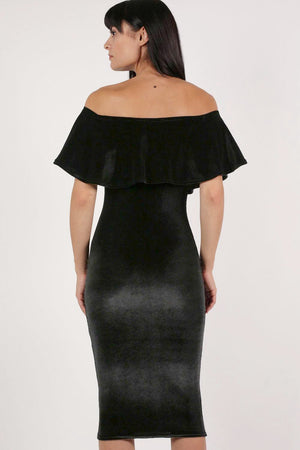 Velvet Off Shoulder Bodycon Midi Dress in Black 3