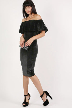 Velvet Off Shoulder Bodycon Midi Dress in Black 4