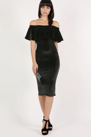 Velvet Off Shoulder Bodycon Midi Dress in Black 5
