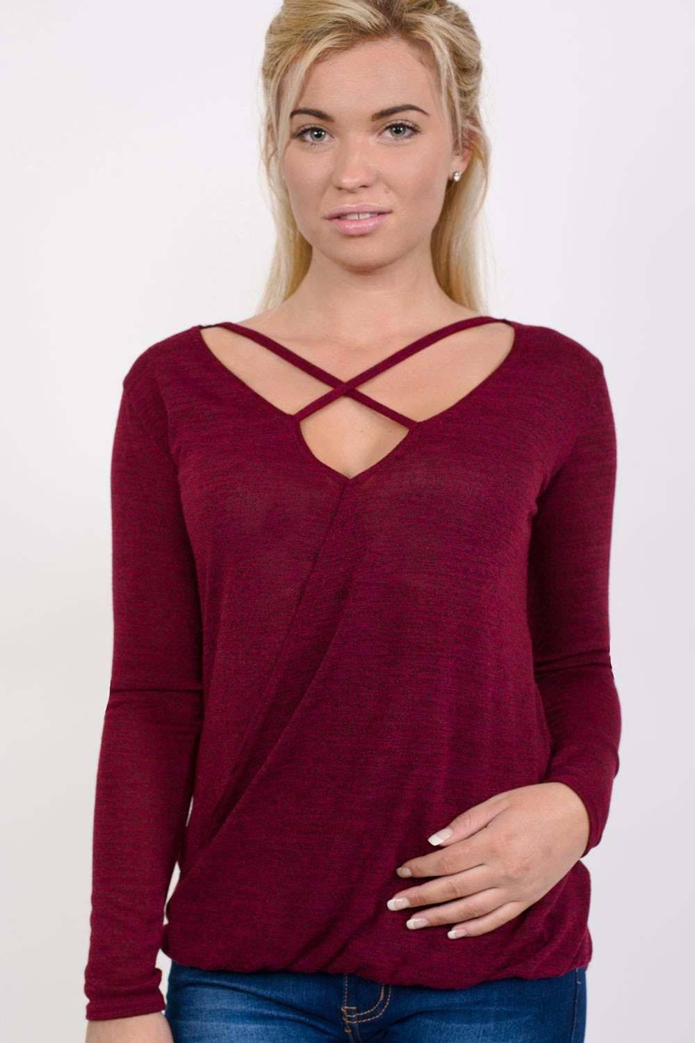 Long Sleeve Knitted Cross Strap And Wrap Over Front Top in Wine Red 0