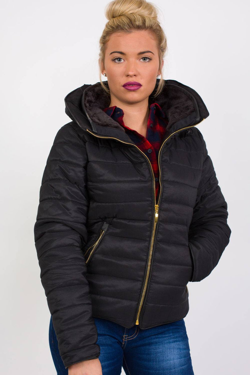 Quilted Long Sleeve Puffa Jacket in Black 0