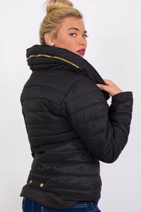 Quilted Long Sleeve Puffa Jacket in Black 3