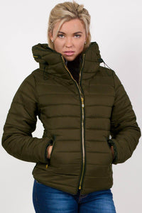 Quilted Long Sleeve Puffa Jacket in Khaki Green 0