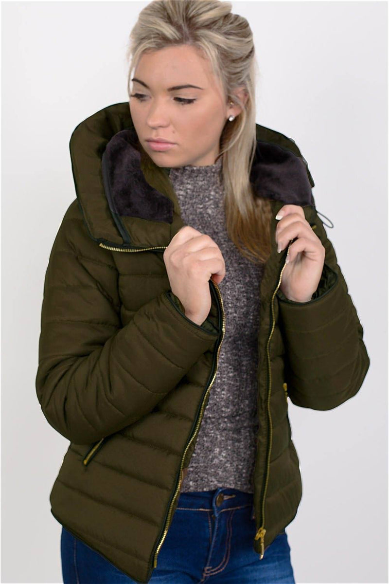 Quilted Long Sleeve Puffa Jacket in Khaki Green 1