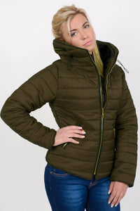 Quilted Long Sleeve Puffa Jacket in Khaki Green 4