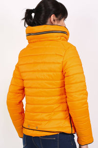 Quilted Long Sleeve Puffa Jacket in Yellow 4