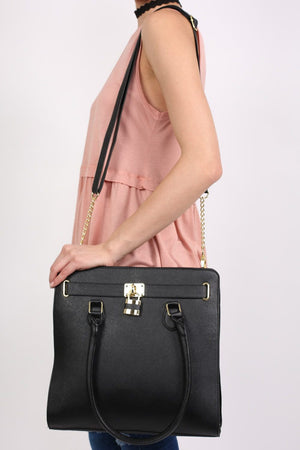 Large Winged Two Handle Tote Bag in Black 1
