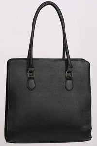 Large Winged Two Handle Tote Bag in Black 3
