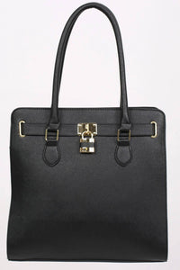 Large Winged Two Handle Tote Bag in Black 4