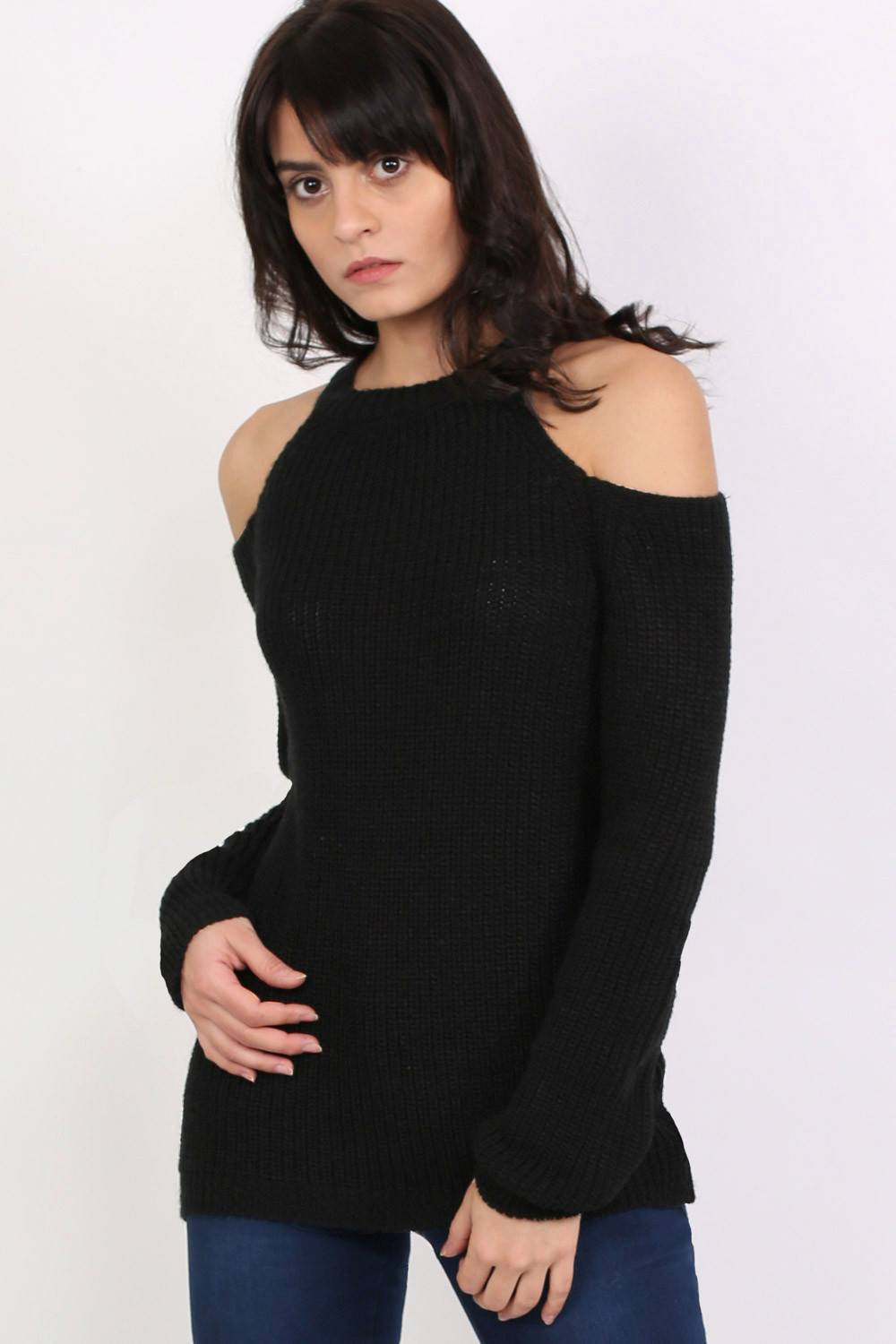 Chunky Cold Shoulder Long Sleeve Jumper in Black 0
