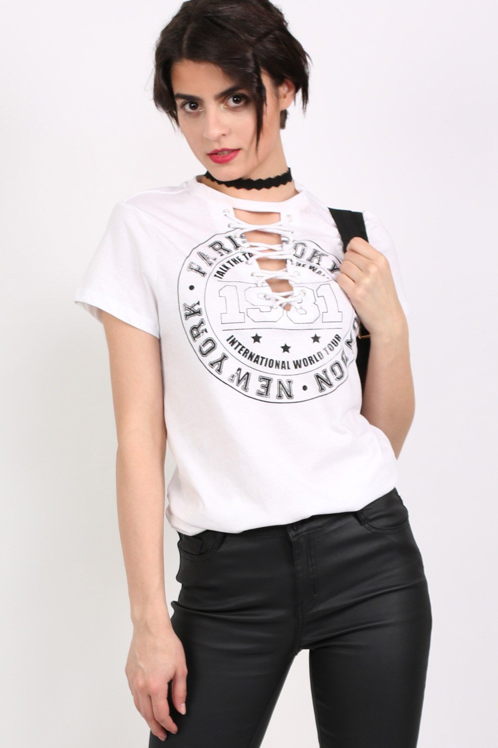 Lace Up Front Graphic T-Shirt in White 0