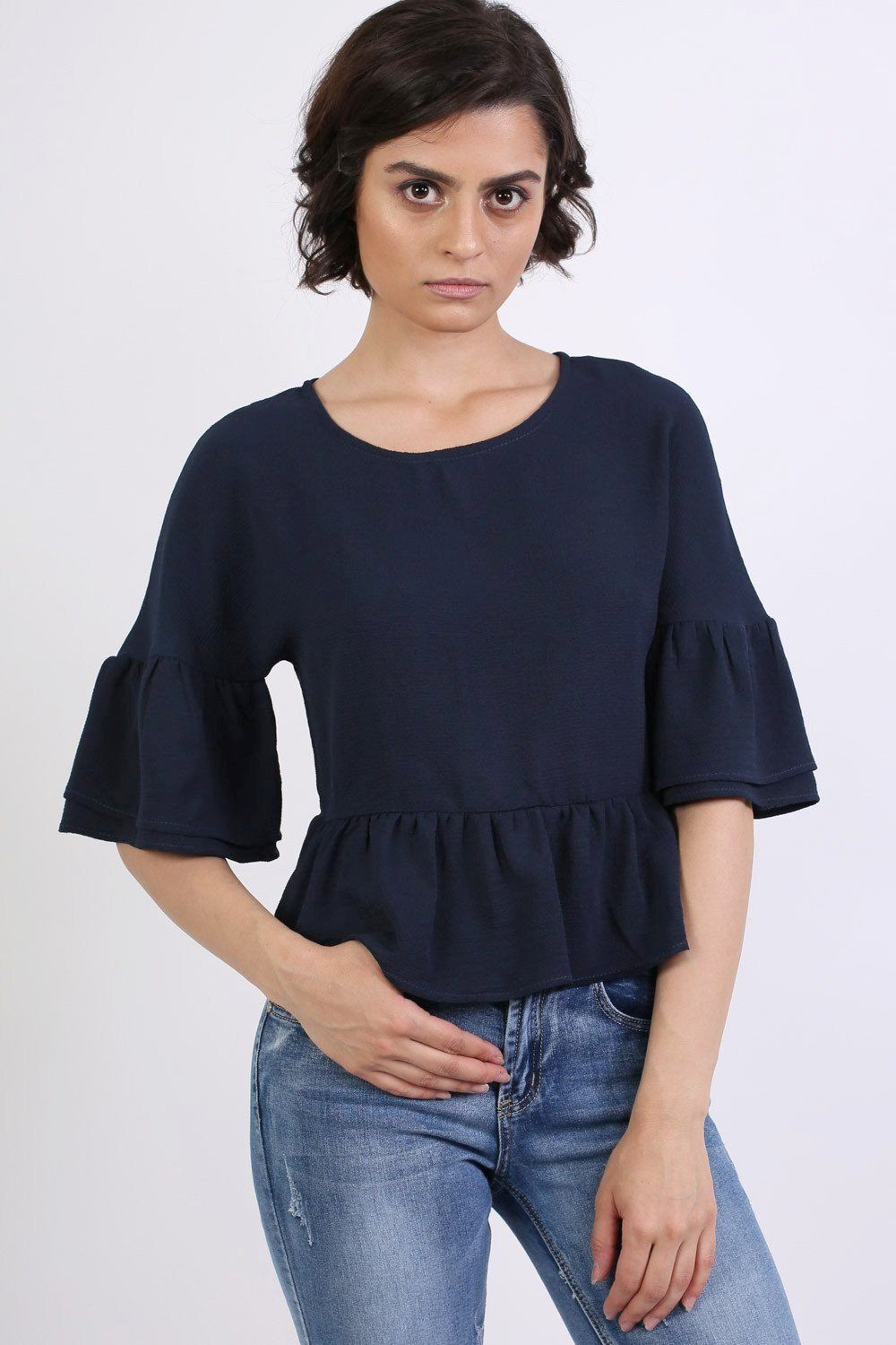 Drop Shoulder Deep Frill Sleeve And Hem Boxy Top in Navy Blue 0