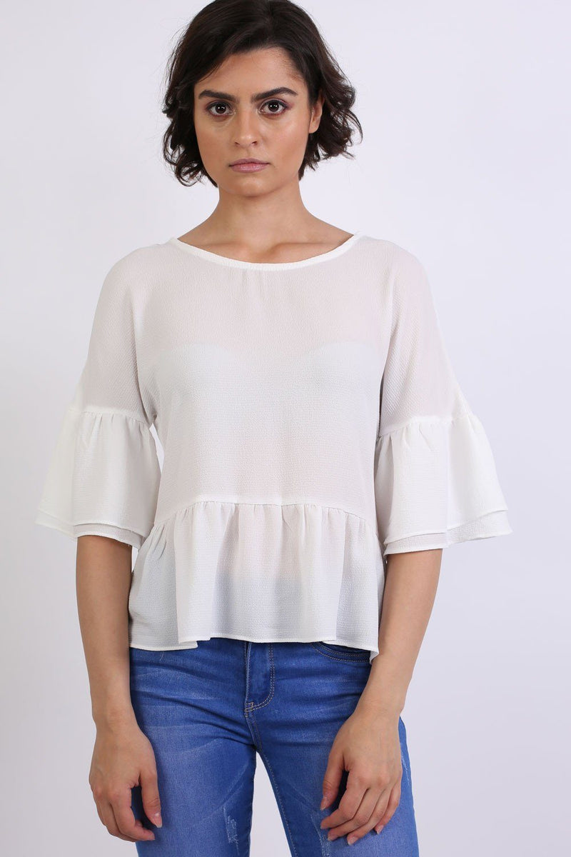 Drop Shoulder Deep Frill Sleeve And Hem Boxy Top in Ivory White 0