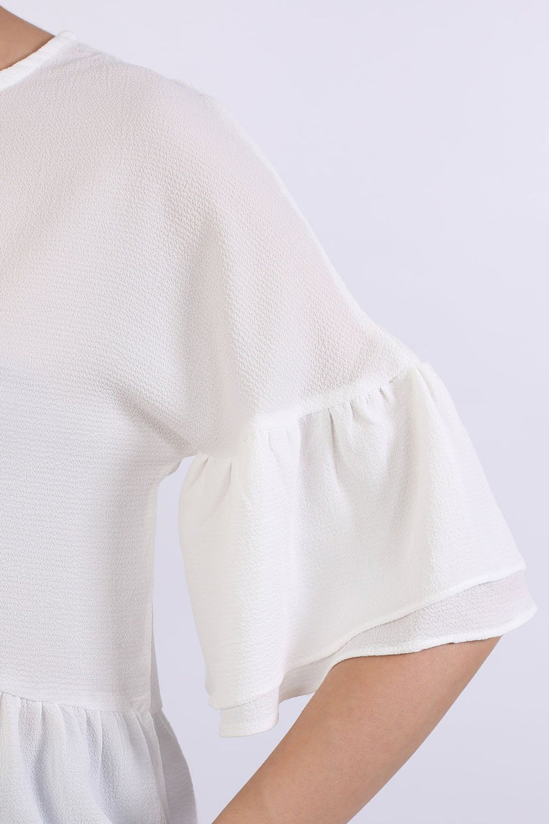 Drop Shoulder Deep Frill Sleeve And Hem Boxy Top in Ivory White 2