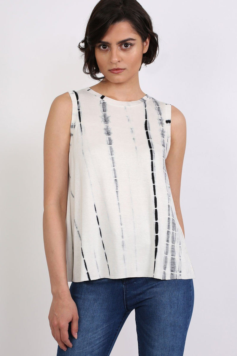 Tie Dye Sleeveless Vest Top in Black & White 0