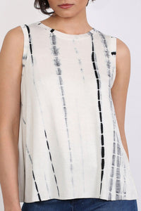 Tie Dye Sleeveless Vest Top in Black & White 4