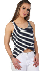 High Low Hem Stripe Vest Top in Navy Blue 0