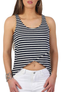 High Low Hem Stripe Vest Top in Navy Blue 3