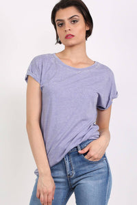 Turn Up Cuff Burnout Top in Dusty Blue 0