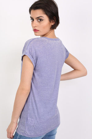 Turn Up Cuff Burnout Top in Dusty Blue 1