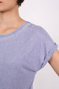 Turn Up Cuff Burnout Top in Dusty Blue 2