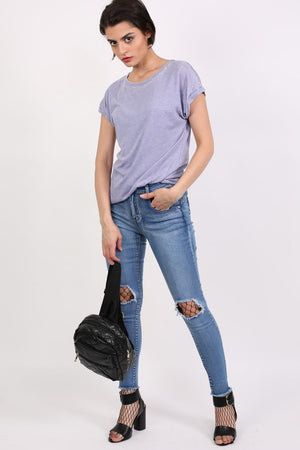 Turn Up Cuff Burnout Top in Dusty Blue 3