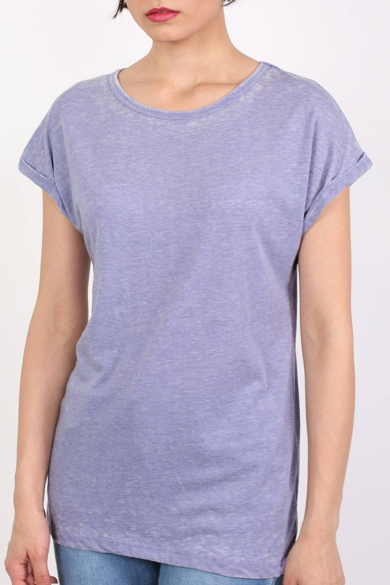 Turn Up Cuff Burnout Top in Dusty Blue 4
