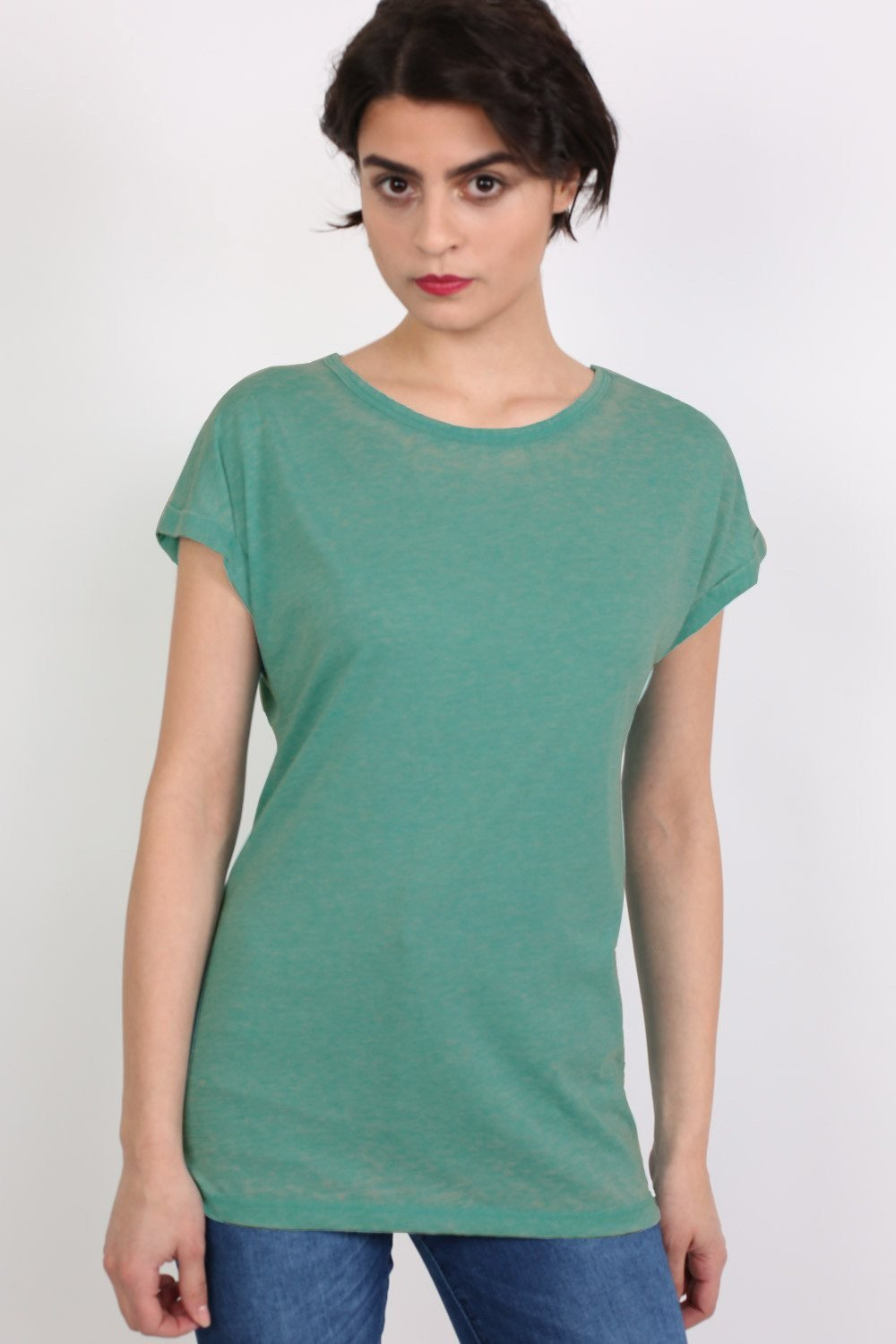 Turn Up Cuff Burnout Top in Jade Green 0
