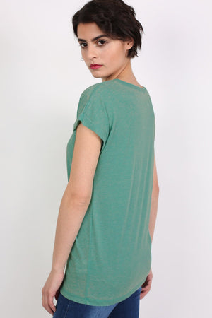 Turn Up Cuff Burnout Top in Jade Green 1