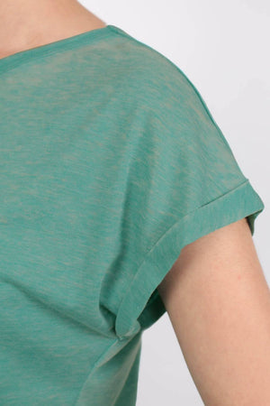 Turn Up Cuff Burnout Top in Jade Green 2
