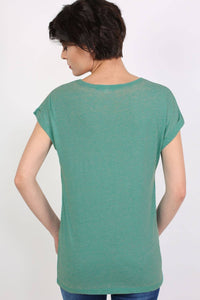 Turn Up Cuff Burnout Top in Jade Green 3