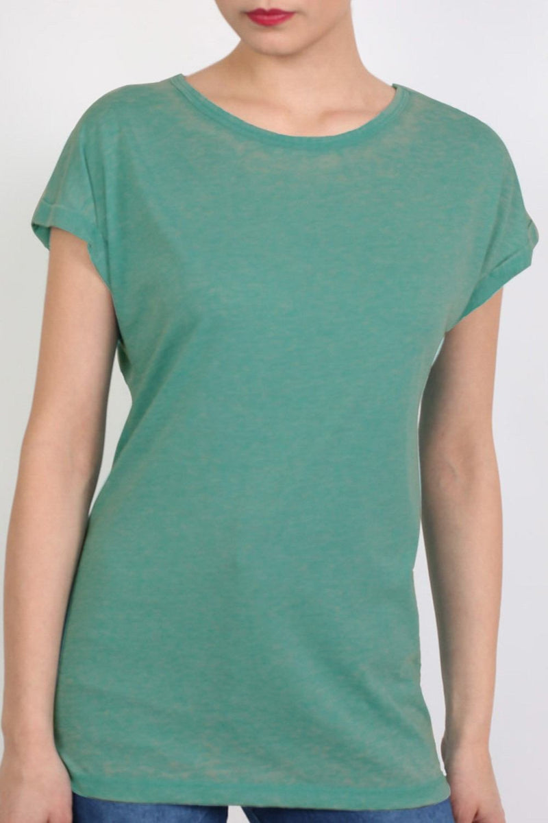 Turn Up Cuff Burnout Top in Jade Green 4