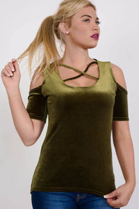 Velvet Cross Front Cold Shoulder High Low Top in Dark Green 1