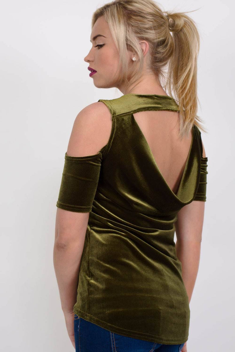 Velvet Cross Front Cold Shoulder High Low Top in Dark Green 3