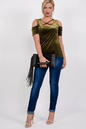 Velvet Cross Front Cold Shoulder High Low Top in Dark Green 4
