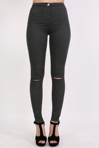 High Waisted Ripped Knee Skinny Jeans in Black 1