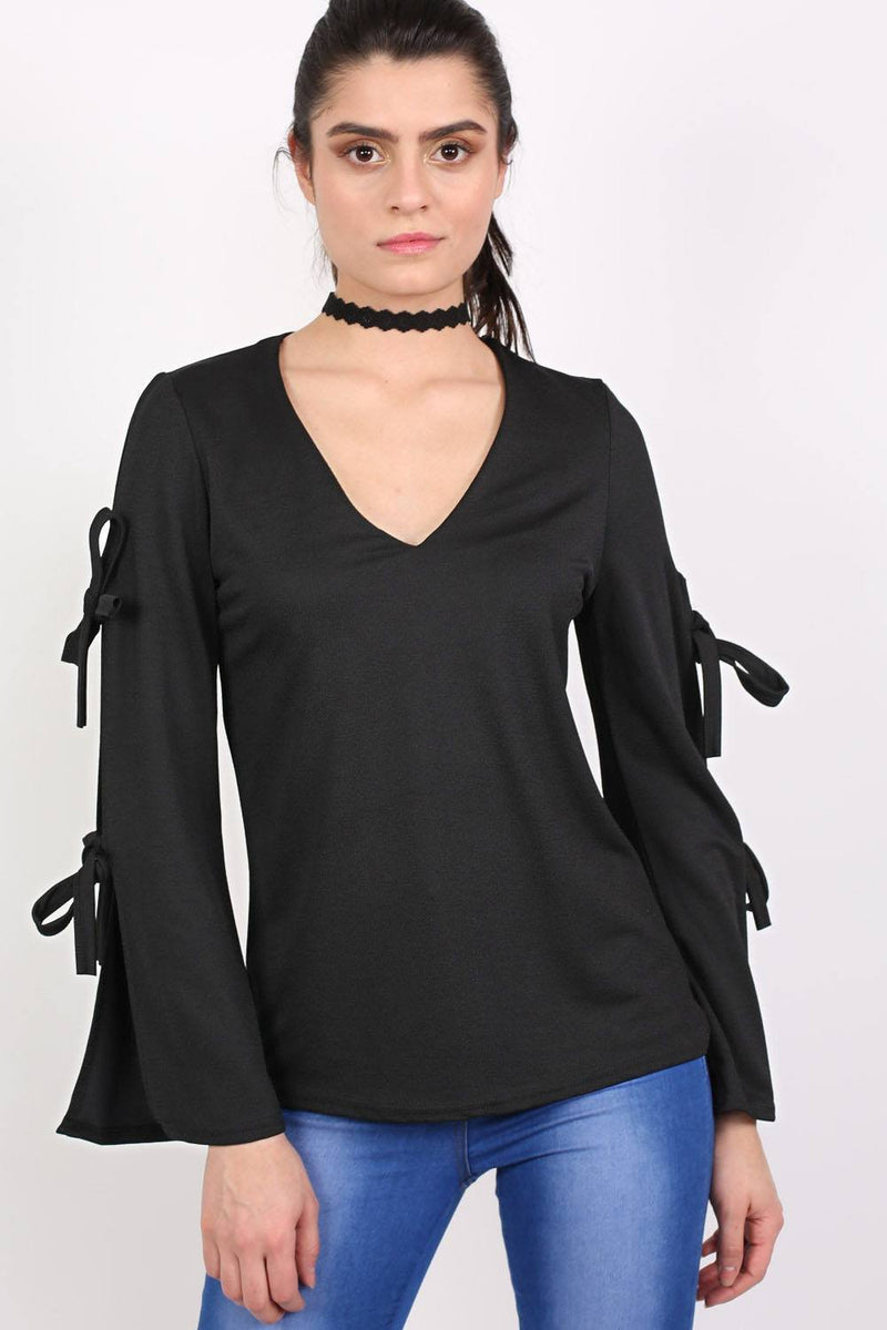 Plain V Neck Flared Tie Sleeve Detail Long Sleeve Top in Black 0