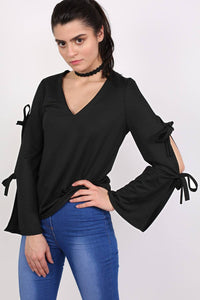 Plain V Neck Flared Tie Sleeve Detail Long Sleeve Top in Black 1