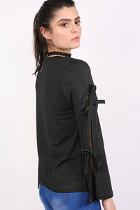 Plain V Neck Flared Tie Sleeve Detail Long Sleeve Top in Black 2