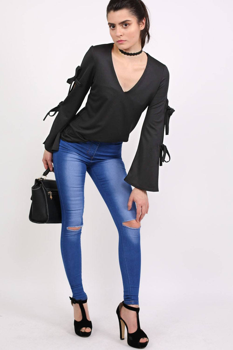 Plain V Neck Flared Tie Sleeve Detail Long Sleeve Top in Black 3