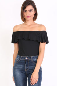 Plain Frill Detail Bardot Neckline Bodysuit in Black 1