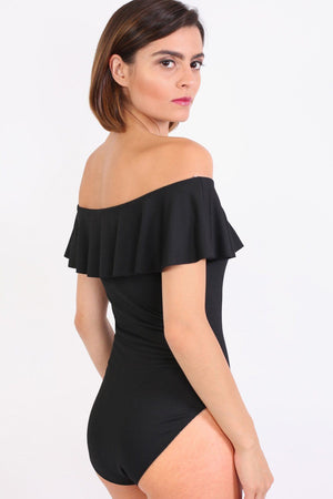 Plain Frill Detail Bardot Neckline Bodysuit in Black 3