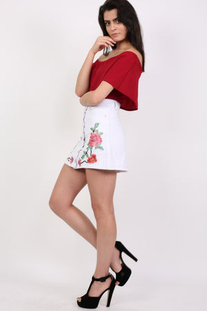 Floral Embroidered Front Button Denim Mini Skirt in White 3