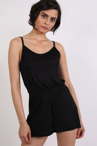 Plain Cami Strap Playsuit in Black 0