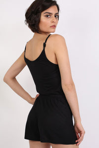 Plain Cami Strap Playsuit in Black 2