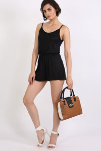 Plain Cami Strap Playsuit in Black 3