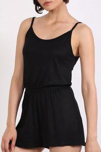 Plain Cami Strap Playsuit in Black 4